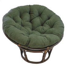 Bali 42-inch Rattan Papasan Chair with Microsuede Fabric Cushion - Walnut/Hunter Green