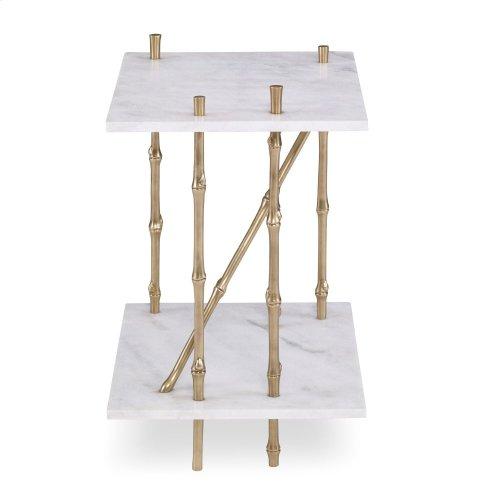 Bamboo End Table - Marble Top