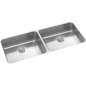 "Elkay Lustertone Classic Stainless Steel 41-3/4"" x 18-1/2"" x 5-3/8"", Double Bowl Undermount ADA Sink w/Perfect Drain"