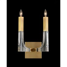 Acrylic and Brass Two-Light Wall Sconce
