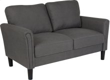 Bari Upholstered Living Room Loveseat in Dark Gray Fabric