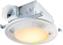 100 CFM Fan/Light with Glass Lens and White Polymeric Grille; 100-watt Incandescent Lighting (no night light)