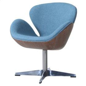 Clayton Fabric Swivel Chair Dark Walnut Frame, Flint Blue