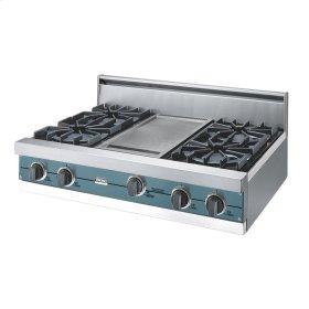 "Iridescent Blue 36"" Open Burner Rangetop - VGRT (36"" wide, four burners 12"" wide griddle/simmer plate)"
