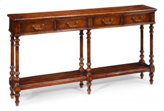 Narrow Walnut Console Antique Finish