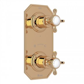 """Unlacquered Brass Perrin & Rowe Edwardian 1/2"""" Thermostatic/Diverter Control Trim with Edwardian Cross Handle"""
