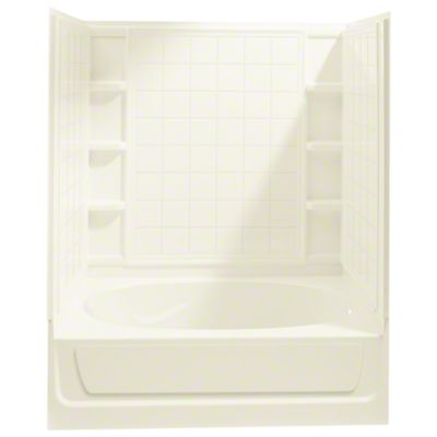 "Ensemble™, Series 7110, 60"" x 36"" x 72"" Tile Bath/Shower with Access Panel - Right-hand Drain - KOHLER Biscuit"