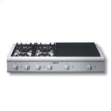 """48"""" Cooktop with 4 Star Burners (2 W/ ExtraLow®) and 24"""" Electric Griddle"""