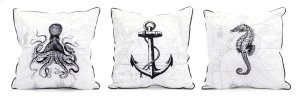 Marine Embroidered Pillow - Ast 3