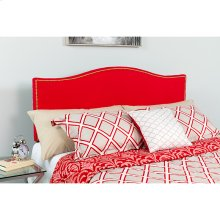 Lexington Upholstered King Size Headboard with Accent Nail Trim in Red Fabric