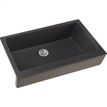 "Elkay Quartz Luxe 35-7/8"" x 20-15/16"" x 9"" Single Bowl Farmhouse Sink with Perfect Drain, Charcoal"