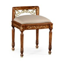 Burl & Mother of Pearl Dressing Stool, Upholstered in MAZO