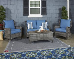 Patio Set 4 pc.Loveseat Glider w/Table & 2 Chairs -Durable Nuvella