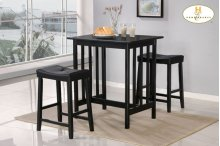 3-Piece Pack Counter Height Set, Black Finish