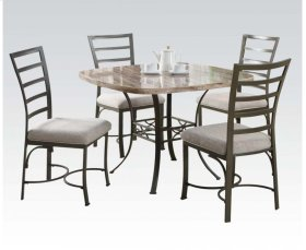 Wh/square Faux 5pc Dining Set