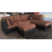 BROWN PADDED MICROFIBER SECTIONAL