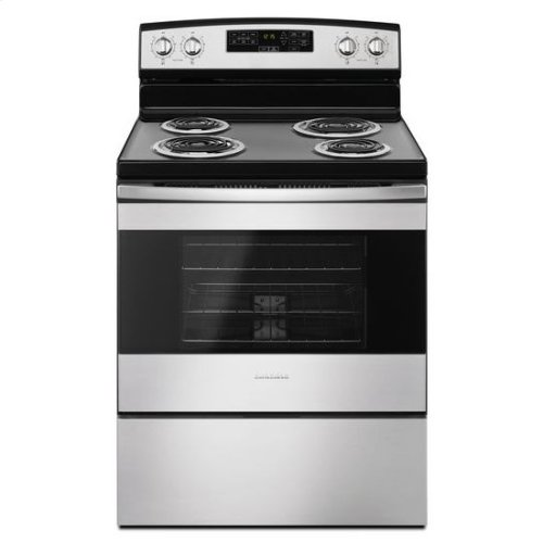 Amana® 30-inch Electric Range with Self-Clean Option - Black-on-Stainless