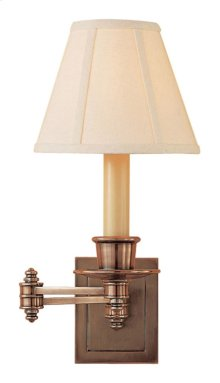 Visual Comfort S2007HAB-L Studio 12 inch 40 watt Hand-Rubbed Antique Brass Swing-Arm Wall Light in Linen