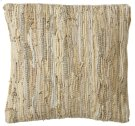 Beige Leather Chindi Pillow (Each One Will Vary) Product Image