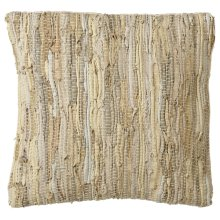 Beige Leather Chindi Pillow (Each One Will Vary)