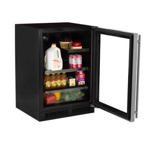 """Marvel 24"""" Beverage Refrigerator with Drawer - Black Frame Glass Door - Right Hinge"""