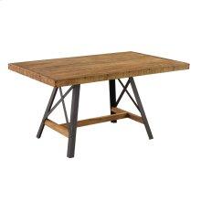 Rectangular Dining Table-burnt Amber Finish-antique Black Metal Legs