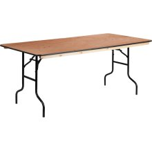 36'' x 72'' Rectangular Wood Folding Banquet Table with Clear Coated Finished Top