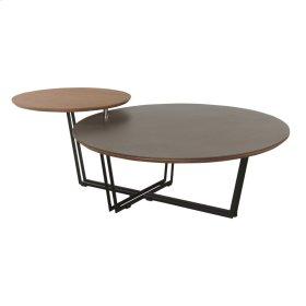 Franca KD Coffee Table Black Base, Sandy Gray/Walnut