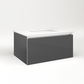 "Cartesian 30-1/8"" X 15"" X 21-3/4"" Single Drawer Vanity In Smoke Screen With Slow-close Plumbing Drawer and No Night Light"