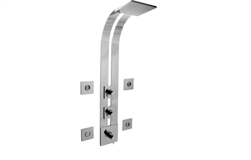 Square Thermostatic Ski Shower Set w/Body Sprays (Rough & Trim)