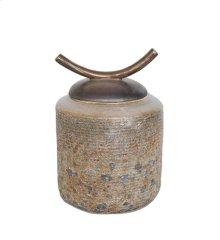 """Brown/green Jar W/ Horn Lid 8.75"""""""