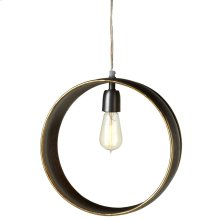 Round Galvanized Frame Pendant with Gold Edge. 60W Max. Plug-in with Hard Wire Kit Included.