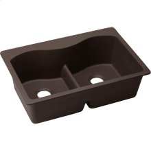 """Elkay Quartz Luxe 33"""" x 22"""" x 9-1/2"""", Equal Double Bowl Drop-in Sink with Aqua Divide, Chestnut"""