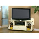 "TV STAND - 60""L / BEIGE / BRASS ACCENT Product Image"
