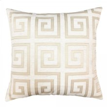 Laguna Contemporary Decorative Feather and Down Throw Pillow In Beige Applique Embroidery Fabric