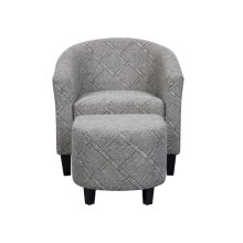 Accent Chair & Ottoman in Grey & White