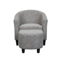 Barrel Chair & Ottoman - Black/White Ptn