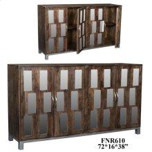 Bengal Manor Acacia Wood and Mirror 4 Door Sideboard