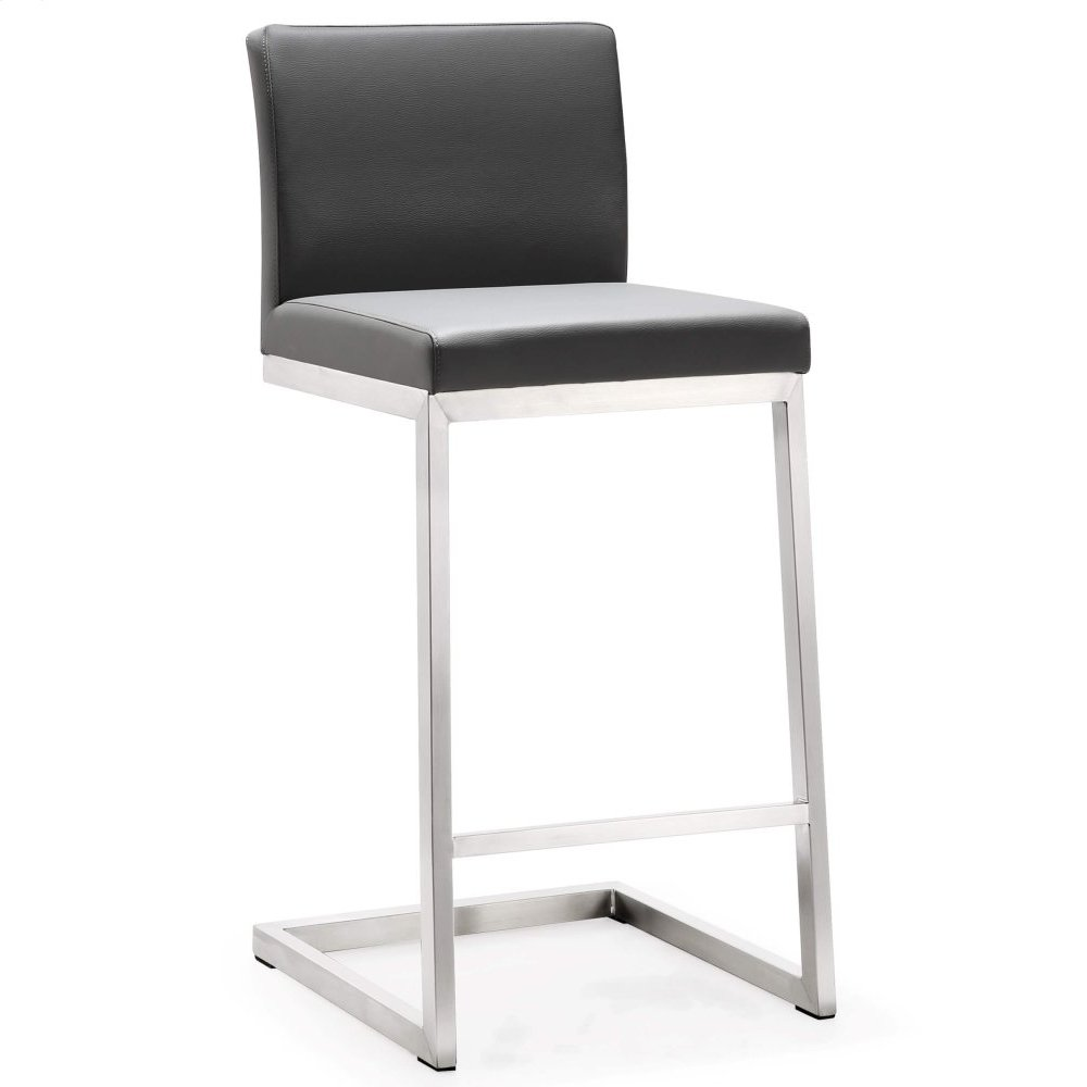 Parma Grey Stainless Steel Counter Stool - Set of 2
