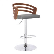 Armen Living Adele Mid-Century Adjustable Swivel Barstool in Chrome with Grey Faux Leather and Walnut Veneer Product Image