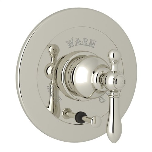 Polished Nickel Arcana Integrated Volume Control Pressure Balance Trim With Diverter with Arcana Series Only Classic Metal Lever