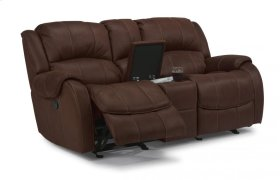 Pure Comfort Fabric Gliding Reclining Loveseat with Console