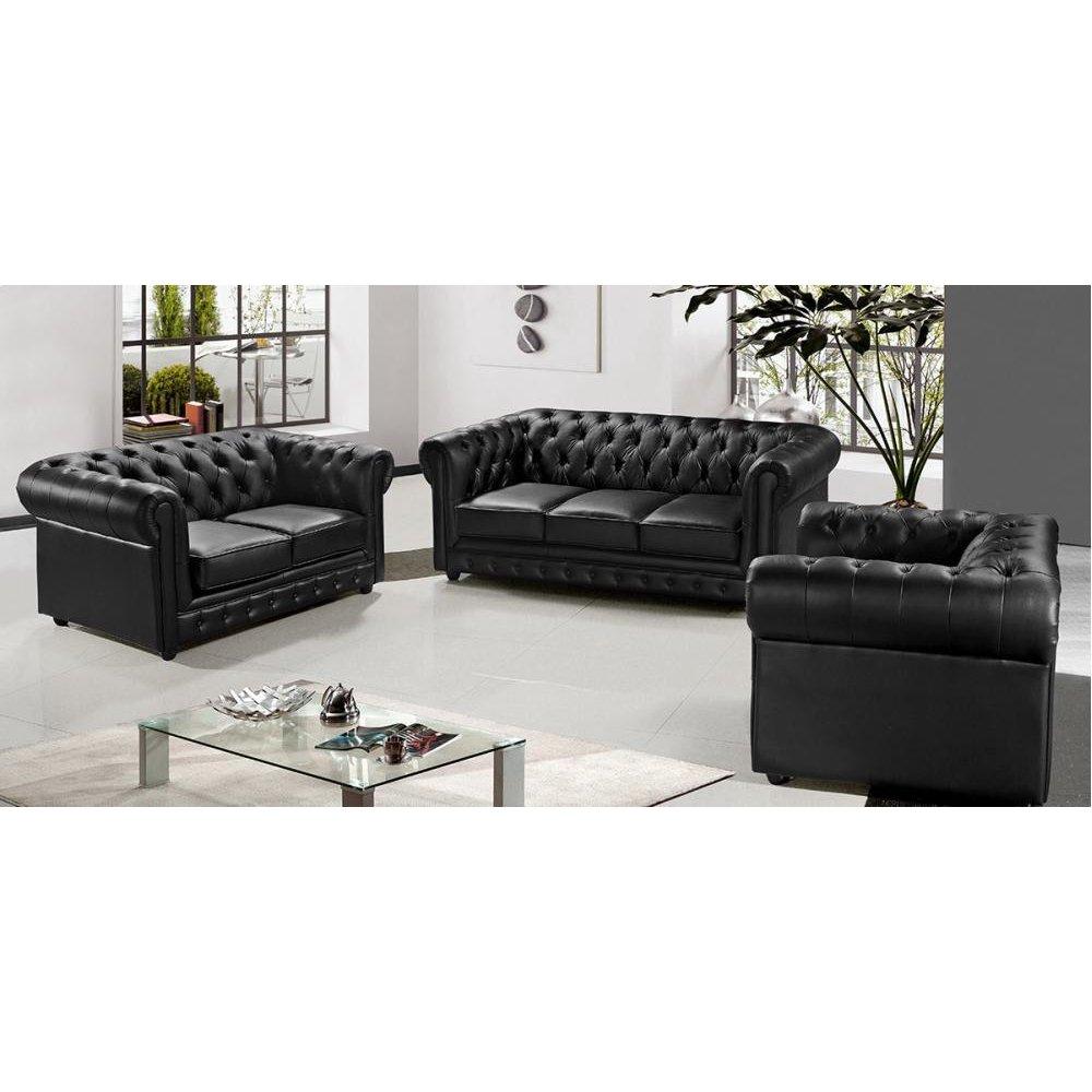 Divani Casa Paris 3 Modern Black Half Leather Sofa Set