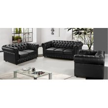 Divani Casa Paris 3 Modern Black Half Leather Sofa Set