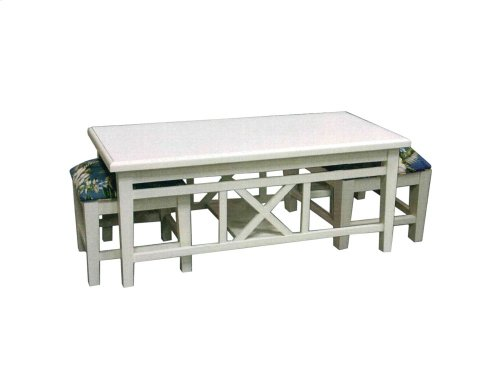 Hassock Table, Available in Cottage White Finish Only.