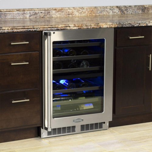 "24"" High Efficiency Dual Zone Wine Cellar - Stainless Frame, Glass Door With Lock - Integrated Left Hinge, Professional Handle"
