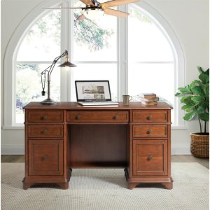 RiversideCampbell - Double Pedestal Desk - Burnished Cherry Finish