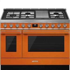 """SmegPortofino Pro-Style Dual Fuel Range, Orange, 48"""" x 25"""""""