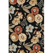 Black / Floral Rug
