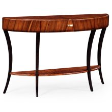 Art Deco High Lustre Large Demilune Console Table with Drawer